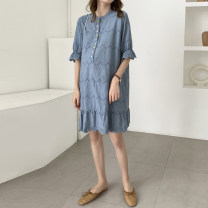 Dress Other / other Blue_ Color button embroidered cloth, purple lattice_ Six button layered skirt, blue_ Xiao Yun, Huang Ge_ Six button layered skirt, blue_ Embroidered fishtail with big collar Average size Korean version Short sleeve Medium length summer Crew neck Solid color