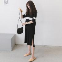 Dress Other / other Black_ White wide stripe contrast skirt, purple blue_ Apricot wide contrast skirt Average size Korean version Short sleeve Medium length summer Crew neck stripe