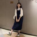 Dress Nuochu's favorite Apricot Princess half neck + blue strap skirt x3048, blue strap skirt x3048 M,L,XL,XXL Korean version three quarter sleeve Medium length spring Crew neck Solid color Denim