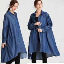 Women's large Spring 2021 sky blue Big size average singleton  commute Long sleeves Solid color Crew neck Medium length cotton routine 51% (inclusive) - 70% (inclusive) Medium length