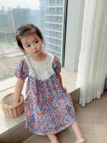 Dress Red, blue female Other / other Cotton 90% other 10% summer lady Short sleeve Broken flowers cotton Lotus leaf edge Class B 2 years old, 3 years old, 4 years old, 5 years old, 6 years old, 7 years old, 8 years old Chinese Mainland