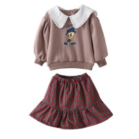 suit Other / other female winter Cartoon Long sleeve + skirt 2 pieces Plush No model Socket nothing Cartoon animation cotton children Learning reward Cotton 90% other 10% 2 years old, 3 years old, 4 years old, 5 years old, 6 years old, 7 years old, 8 years old Chinese Mainland