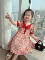 Dress Black, red female Other / other The suitable height for size 5 or 90 is about 90cm, for size 7 or 100 is about 100cm, for size 9 or 110 is about 110cm, for size 11 or 120 is about 120cm, for size 13 or 130 is about 130cm Cotton 90% other 10% summer lady Short sleeve lattice cotton YQTN-21026-23