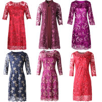 Middle aged and old women's wear Summer of 2019, spring of 2019, autumn of 2019 M,L,XL,XXL,XXXL,4XL,5XL,6XL noble Dress Straight cylinder singleton  Broken flowers 40-49 years old Conjoined moderate Crew neck routine Adele Hollowing out Lace 31% (inclusive) - 50% (inclusive) zipper Medium length Lace