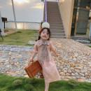 Dress Pink female YUNERMA 12m (80cm), 18m (90cm), 24m (100cm), 36m (110cm), 4a (120cm), 5A (130cm), 6a (140cm) Cotton 95% flax 5% summer leisure time Short sleeve Solid color cotton A-line skirt 12 months, 18 months, 2 years old, 3 years old, 4 years old, 5 years old, 6 years old, 7 years old