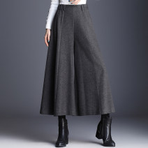 Casual pants Autumn and winter black woolen, autumn and winter grey woolen M,L,XL,2XL,3XL,4XL Spring 2020 Ninth pants Wide leg pants High waist Versatile routine Other / other