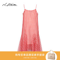 Dress Winter of 2019 gules 2/S 3/M 4/L 5/XL Mid length dress singleton  Sleeveless commute other lattice Socket 30-34 years old Type X N. PAIA / enpaya Retro XNFPA4105C More than 95% polyester fiber Polyester 100% Same model in shopping mall (sold online and offline)