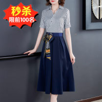 Dress Autumn 2020 Blue, black S,M,L,XL,2XL,3XL Mid length dress Fake two pieces Long sleeves commute V-neck middle-waisted stripe Socket A-line skirt shirt sleeve Others Type A Other / other lady other