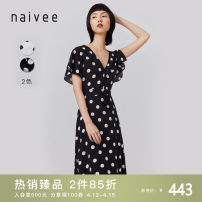 Dress Summer 2020 black 155/80A/S 160/84A/M 165/88A/L 170/92A/XL longuette Two piece set Short sleeve commute V-neck High waist Dot Socket A-line skirt Flying sleeve 25-29 years old Type X Naivie Ol style printing 206P69914-81 More than 95% other Viscose (viscose) 100% Pure e-commerce (online only)