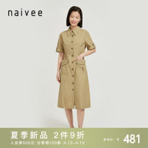 Dress Summer 2021 Camel 155/80A 160/84A 165/88A 170/92A Mid length dress singleton  Short sleeve commute other Solid color Single breasted other routine 25-29 years old Type X Naivie literature Pocket button 214P69552-95 More than 95% other cotton Cotton 100%