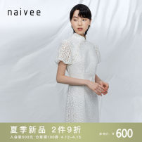 Dress Summer 2021 155/80A/S 160/84A/M 165/88A/L 170/92A/XL Mid length dress singleton  Short sleeve commute stand collar Solid color other other other 25-29 years old Type X Naivie Retro More than 95% other polyester fiber Polyester 100% Same model in shopping mall (sold online and offline)