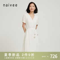 Dress Summer 2021 white 155/80A 160/84A 165/88A 170/92A longuette singleton  Short sleeve commute V-neck Solid color zipper A-line skirt routine 25-29 years old Type X Naivie literature Frenulum 214P68034-21 More than 95% cotton Cotton 100% Same model in shopping mall (sold online and offline)