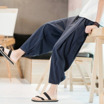 Casual pants Others Youth fashion Black, grey, navy M (recommended 100-125 kg), l (recommended 125-135 kg), XL (recommended 135-155 kg), 2XL (recommended 155-165 kg), 3XL (recommended 165-185 kg), 4XL (recommended 185-205 kg), 5XL (recommended 205-230 kg) thin Ninth pants Home easy No bullet k22MS