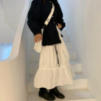 skirt Autumn of 2019 Average size Black, white Middle-skirt Versatile Solid color 51% (inclusive) - 70% (inclusive)