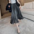 skirt Autumn 2020 S,M,L,XL Picture color in stock Mid length dress commute High waist Pleated skirt Type A Simplicity