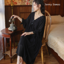 Nightdress Jenny Damas White, black M,L,XL luxurious Long sleeves Leisure home longuette spring Solid color youth V-neck cotton One piece More than 95% Modal cotton
