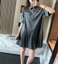Dress Summer 2021 grey S,M,L Short skirt singleton  Long sleeves commute Polo collar Loose waist Solid color Single breasted Pleated skirt routine Type H Looking for coffee Korean version 71% (inclusive) - 80% (inclusive) other polyester fiber