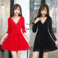 Dress Spring 2020 Black, red, blue S,M,L,XL,2XL Short skirt singleton  Long sleeves commute V-neck middle-waisted Solid color Socket Big swing routine Others 25-29 years old Type A Korean version Ruffles, stitching, mesh 81% (inclusive) - 90% (inclusive) Cellulose acetate