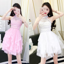 Dress Spring 2020 White, pink S,M,L Short skirt singleton  Sleeveless Sweet Crew neck middle-waisted Solid color Socket A-line skirt other Hanging neck style 18-24 years old Type A Stitching, bead nailing, mesh 51% (inclusive) - 70% (inclusive) other other princess