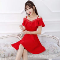 Dress Spring 2020 Black, white, red S,M,L,XL Short skirt singleton  Short sleeve Sweet One word collar middle-waisted Socket Ruffle Skirt other camisole 18-24 years old Type A Ruili
