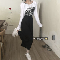 Fashion suit Autumn 2020 Split shot: one size fits all White top, zebra sling, black skirt 18-25 years old 31% (inclusive) - 50% (inclusive) cotton