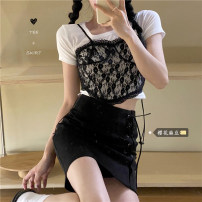 Fashion suit Summer 2021 Take separate shots White base, lace sling, black skirt s, Black Skirt M, black skirt L 18-25 years old 31% (inclusive) - 50% (inclusive) cotton