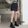 skirt Spring 2021 S,M,L Black, denim Short skirt Versatile High waist A-line skirt Solid color Type A 18-24 years old