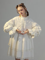 Dress Winter 2020 milky white S. M, s (about 12-17 days in advance), m (about 12-17 days in advance) Middle-skirt singleton  Long sleeves Sweet Loose waist Solid color Socket Ruffle Skirt bishop sleeve Type A Group of Universe Flounce, fungus, bandage, lace polyester fiber Lolita