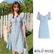 Dress Summer 2021 Blue, yellow S,M,L Short skirt singleton  Short sleeve Sweet One word collar High waist Broken flowers A-line skirt puff sleeve 18-24 years old Type A Pleating, pleating, lacing, stitching, strapping, printing college