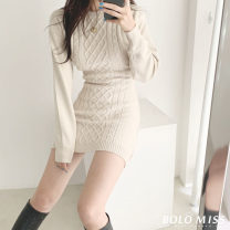 Dress Autumn 2020 Apricot, grey, black Average size Short skirt singleton  Long sleeves commute Crew neck High waist Solid color A-line skirt routine 18-24 years old Type A Korean version 4099 core spun yarn in stock 51% (inclusive) - 70% (inclusive)