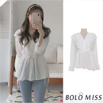 shirt white S,M,L,XL Spring 2021 other 31% (inclusive) - 50% (inclusive) Long sleeves commute Regular V-neck Socket puff sleeve Solid color 18-24 years old Korean version