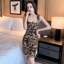 Dress Spring 2021 Picture color S,M,L Short skirt singleton  Sleeveless commute One word collar High waist Leopard Print Socket One pace skirt other camisole 25-29 years old Type H Open back, lace up 806# More than 95% other other