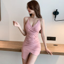 Dress Spring 2021 Pink, Burgundy, black S,M,L,XL Short skirt singleton  Sleeveless commute V-neck High waist Solid color zipper One pace skirt routine camisole 25-29 years old Type H Open back, fold, asymmetry 5818# More than 95% other other
