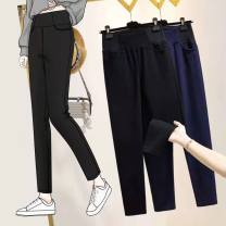 Women's large Spring 2021 Dark blue, black Large L, large XL, large 2XL, large 3XL, large 4XL trousers singleton  commute Self cultivation moderate Solid color Korean version cotton Three dimensional cutting 51% (inclusive) - 70% (inclusive) trousers