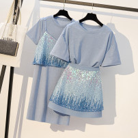 Women's large Summer 2021 Two piece long t sling and two piece short T skirt Large XL, large XXL, large XXL, large XXXXL, large L Two piece set commute easy thin Socket Short sleeve Solid color Korean version Three dimensional cutting Medium length