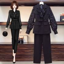 Women's large Spring 2021 Shirt, vest, pants, shirt, vest Large L, large XL, large 2XL, large 3XL, large 4XL Three piece set commute Straight cylinder moderate Solid color Korean version other routine Three dimensional cutting routine trousers