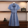 Women's large Summer 2021 Picture color Large XL, large XXL, large XXL, large XXXXL, large L Dress singleton  commute easy moderate Cardigan Short sleeve Solid color Korean version Polo collar routine Three dimensional cutting routine Medium length
