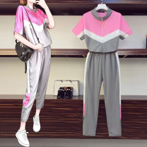 Women's large Summer 2021 Picture color Large L, large XL, large 2XL, large 3XL, large 4XL Two piece set commute Self cultivation moderate Socket Short sleeve Solid color Korean version Crew neck routine polyester Collage routine pocket Ninth pants