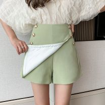 skirt Spring 2021 S,M,L,XL Apricot, green, black Short skirt commute High waist A-line skirt Solid color Type A 18-24 years old Zs394 51% (inclusive) - 70% (inclusive) other IEF / aiyifu other Korean version