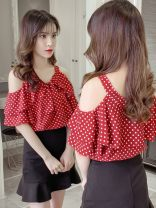 Lace / Chiffon Summer 2021 White, red, blue S,M,L,XL Short sleeve commute Socket singleton  Straight cylinder V-neck Dot other 18-24 years old IEF / aiyifu SU1615 Bow, print Korean version 51% (inclusive) - 70% (inclusive)