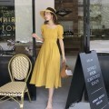 Women's large Summer 2021 Yellow, black S,M,L,XL singleton  commute Short sleeve Solid color Retro square neck other routine Other / other 18-24 years old 51% (inclusive) - 70% (inclusive) longuette Princess Dress zipper