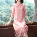 Dress Spring 2020 Grey, pink S,M,L,XL,XXL Mid length dress singleton  three quarter sleeve commute stand collar Loose waist Solid color Socket A-line skirt routine Others 40-49 years old Type A ethnic style Embroidery More than 95% organza  polyester fiber