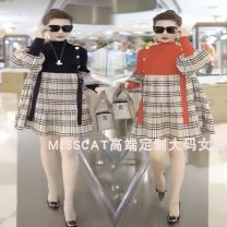 Dress Spring 2021 Black, red, stitched black, stitched red L,XL,2XL,3XL,4XL,5XL,6XL Mid length dress singleton  Long sleeves commute Crew neck Loose waist lattice Socket A-line skirt routine 25-29 years old Type A 001 (Consumer Electronics) Korean version Splicing