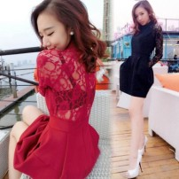 Dress Summer of 2019 Black 5374, red 5374, black [small sling 1232] S [high quality fabric], m [high quality fabric], l [high quality fabric], XL [high quality fabric], XXL [high quality fabric] Short skirt singleton  Long sleeves commute stand collar middle-waisted Solid color zipper Lantern skirt