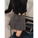 skirt Spring 2021 S, M Gray, black Mid length dress Sweet High waist skirt lattice Type A 30% and below other other
