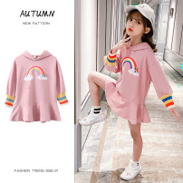 Dress Autumn 2020 Blue, pink 110cm,120cm,130cm,140cm,150cm,160cm Middle-skirt singleton  Long sleeves commute Hood Elastic waist Solid color Socket A-line skirt Bat sleeve Others Under 17 Type A Other / other Korean version Ruffle, Auricularia auricula, stitching, printing other cotton