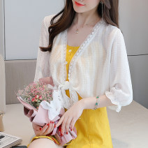 Lace / Chiffon Summer 2021 white S,M,L,XL,2XL elbow sleeve Versatile Cardigan singleton  easy have cash less than that is registered in the accounts V-neck Solid color bishop sleeve Splicing 96% and above polyester fiber
