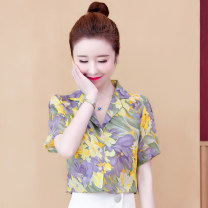 Lace / Chiffon Summer 2020 Picture color S,M,L,XL,2XL Short sleeve Versatile Socket singleton  Straight cylinder Regular V-neck other routine 25-29 years old 91% (inclusive) - 95% (inclusive) polyester fiber