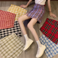 skirt Spring 2021 S [90-100kg], m [100-110kg], l [110-120kg], XL [120-135kg], 2XL [135-150kg], 3XL [150-165kg], 4XL [165-175kg], 5XL [175-200kg] Red, purple, blue, black, pink Short skirt commute High waist A-line skirt lattice Type A 18-24 years old other Old, button Retro