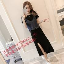 Dress Summer of 2019 Blue jeans + black skirt suit, blue sling, black skirt S,M,L,XL longuette Two piece set Short sleeve commute Crew neck Elastic waist Solid color Socket One pace skirt other Others 18-24 years old Type X Other / other Korean version tassels 31% (inclusive) - 50% (inclusive) Denim